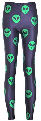 Sister Amy Women's High Waist Skull Printted Ankle Elastic Tights Legging Green Alien in Black US -
