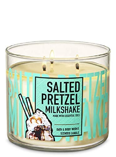 Bath and Body Works White Barn Salted Pretzel Milkshake 3 Wick Candle 14.5 Ounce