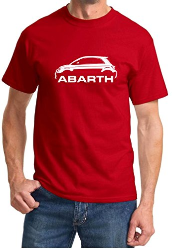 Fiat 500 Abarth Classic Car Outline Design Tshirt large red