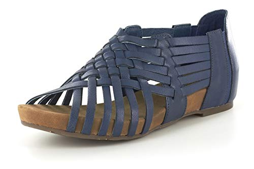 Chocolat Blu Viva Wedge - Woven Platform Sandal on a Low-Wedge - Women's Leather Shoes Navy Leather 6.5