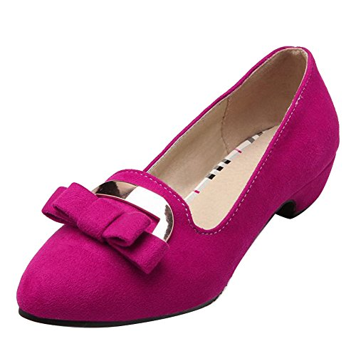 Carol Shoes Women's Charm Elegant Low Heel Bows Pointed Toe Court Shoes Rose Red Jn5rOK