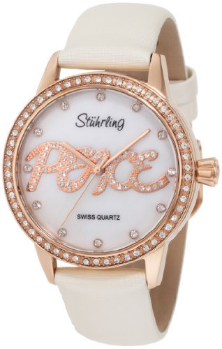 Stuhrling Original Women's 519P.1145P7 Vogue Audrey Peace Swiss Quartz Mother-Of-Pearl Dial Swarovski Crystal White Watch