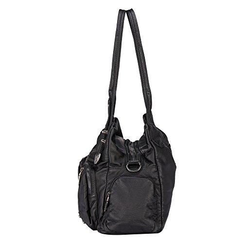 Washed Crossbody Bag Hobo Purse Classic Leather Women Soft Shoulder Black Bag Handbag Brown for xwBqqnp4Z