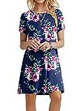 POPYOUNG Women's Summer Casual T Shirt Dresses Beach Dress 2X-Large, Floral Navy