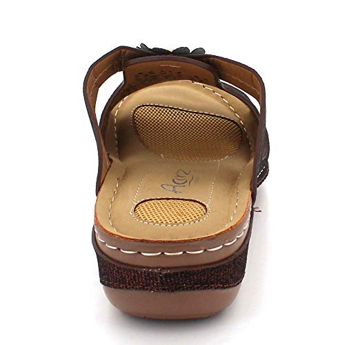 Cada Mujer Señoras Ligero Comodidad Zapatos Punta De Abierta Verano Sandalias Cuña Tacón Marrón Casual Día Ponerse Tamaño frtrqxwP