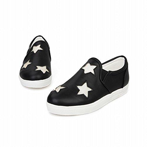 Show Shine Womens Fashion Glitter Stars Bungee Flats Shoes Black 7VHtb