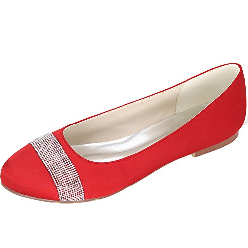 Loslandifen Womens Tacco Raso Appartamenti Sera Sera Tacco Basso Scarpe Da Sposa Rosso Raso Rosso