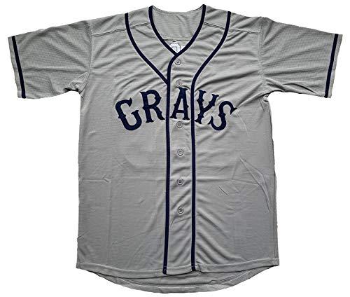 Josh Gibson #20 Homestead Grays Negro Baseball Jersey Grey S-3XL (20 Grey, X-Large) ()