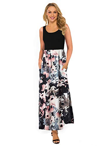 - DLDY Women's Maxi Dress Sleeveless Solid Tank Top Floral Print High Wasit Summer Contrast Long Maxi Dress with Pockets