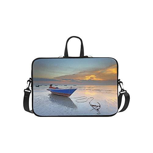 Old Sailing Ship Anchor in The Port Pattern Briefcase Laptop Bag Messenger Shoulder Work Bag Crossbody Handbag for Business Travelling