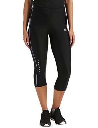 Ultrasport, Pantalones deportivos 3/4 para Mujer, Negro/Lila, M