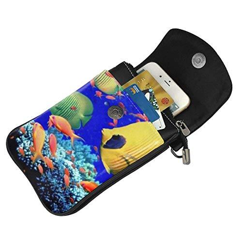 Hdadwy mobiltelefon crossbody väska havsfiskar kvinnor PU-läder mode handväska med justerbar rem