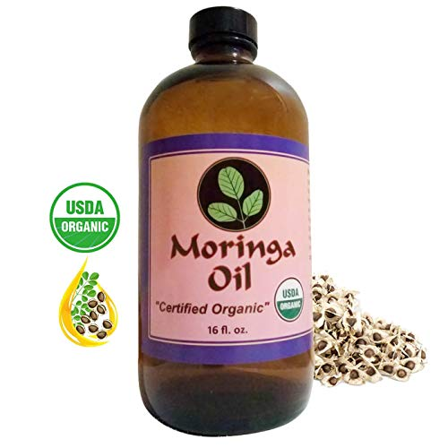 Moringa Energy Oil - USDA Organic, 100% Pure Moringa Seed Oil from Cold Pressed Extraction. Bulk 16 oz glass bottle. Use to Rejuvenate and heal dry Skin & Hair with our Pure Food Grade Moringa Oil.