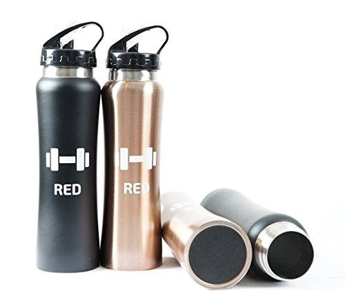 RED supplies Rose Gold Stainless Steel Water Bottle 17oz. Wide Mouth Mug with Leak Proof Flip Top Straw Cap .Great for Sports, Gym,Outdoors Activities .Keeps Liquids Hot Or Cold for ()