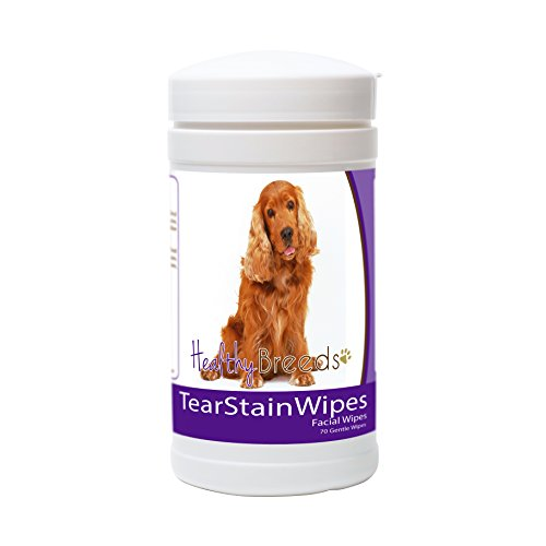 Cocker Spaniel Ears - Healthy Breeds Dog Tear Stain Remover Wipes for Cocker Spaniel - Over 100 Breeds - Facial Eye Cleaner - 70 Wipes - Cleans Crust Stains Mucus Saliva - Mild Gentle Fragrance Free