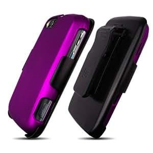 Bloutina Motorola Admiral XT603 Purple Cover Case + Kickstand Belt Clip Holster + Naked Shield Screen Protector