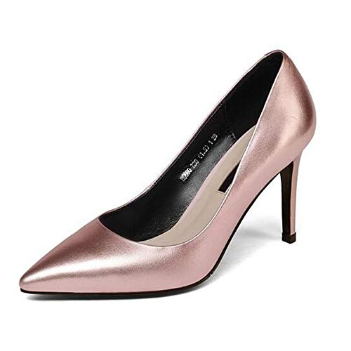Pink Stiletto Basic Spring Pump Women's Heel Shoes Black Silver Heels ZHZNVX Nappa Pink Leather OqXU8
