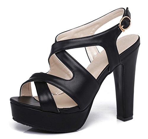 Aisun Womens Platform Sandals - Elegant Buckled Chunky Shoes - Party Evening Peep Toe High Heel Black gZhtzs0nPR