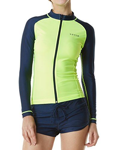 Tesla Women's UPF 50+ Zip Front Long Sleeve Top Rashguard Swimsuit FSZ01