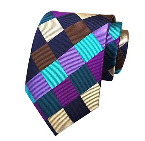 MINDENG Large Blue Purple Brown Striped Plaid Woven 100% Silk Men's Ties Necktie