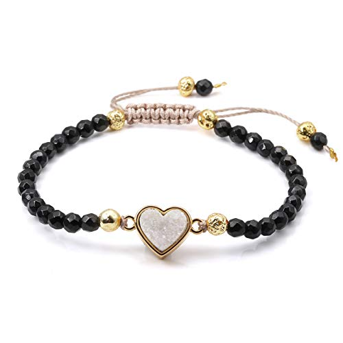 Top Plaza Womens Girls 4mm Beads Black Tourmaline Chakra Healing Crystal Bracelet Gold Lava Rock Stone Adjustable Bracelets with Heart Shape Druzy Charm