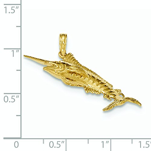 De poli or 14 Carats Pendentif Poissons Bleu Marlin-JewelryWeb