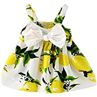 Todaies,Hot Sale Baby Girl Clothes Lemon Printed Infant Outfit Sleeveless Princess Gallus Dress 2018