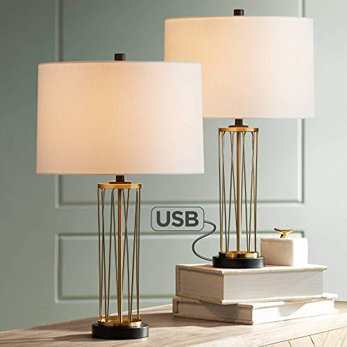 Nathan Modern Table Lamps Set of 2 with Hotel Style USB Charging Port Gold Metal Drum Shade for Living Room Family Bedroom Bedside – 360 Lighting