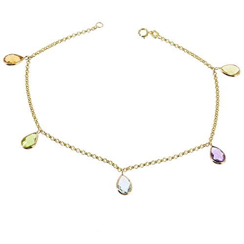 14K Yellow Gold Gemstone Anklet Bracelet With Hanging Gemstones 9 -11 Inches -