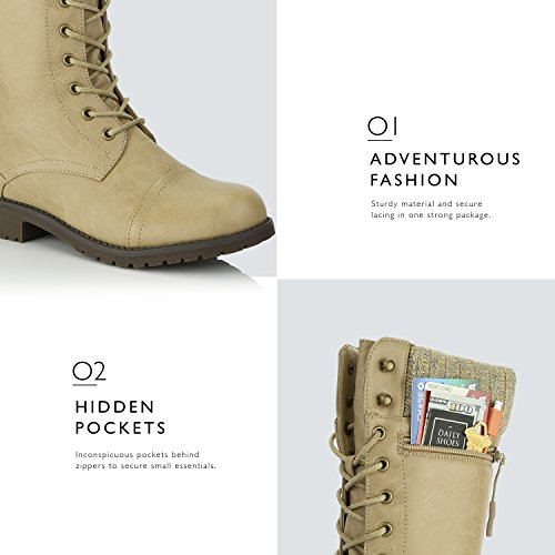Ankle Wallet Pocket Beige Card Combat Style Credit Quilted DailyShoes Military Knife up Boots Knit Women's Money Pu Bootie 6IBnqOw