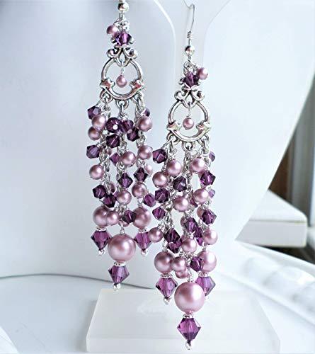 - Pink Purple Swarovski Crystal Pearl Victorian Silver Chandelier Earrings