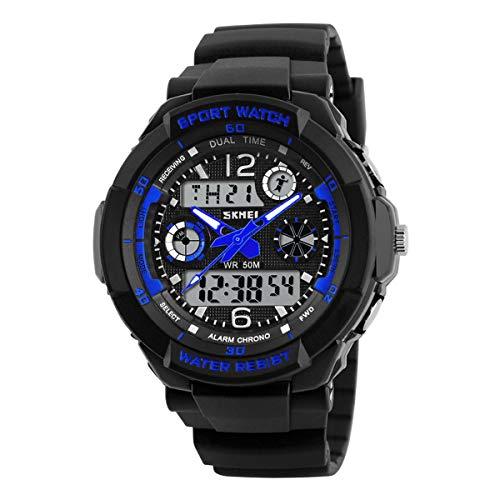 Kids Watch Sport Waterproof Multi Function Analog Quartz LED Alarm Stopwatch Digital Child Electronic Wristwatch for Boy Girl Silver Blue ()