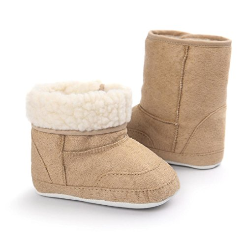 GBSELL New Casual Baby Toddler Winter Warm Sole Snow Boots Soft Crib Shoes (Coffee, 12~18 Month)