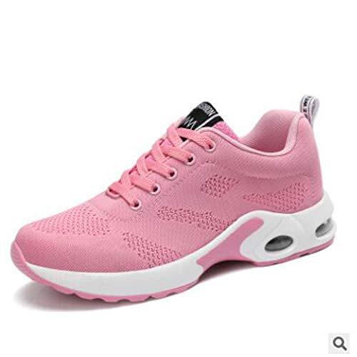 athlétiques Rose Fitness Marche Chaussures Lacets Running de Femmes Gym à Formateurs Sneakers Respirant Occasionnels légers Hibote E7Z4xqn