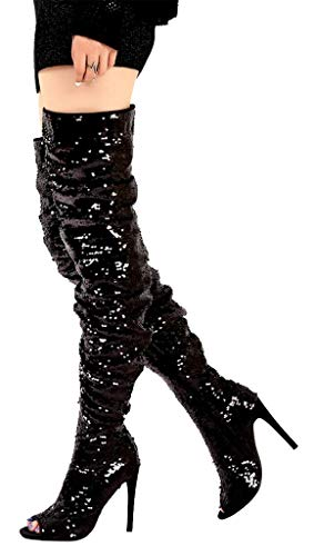 Women's Over The Knee Boots Peep Toe Sparkle Sequins Christmas Party Dance Stiletto Boot Black Size 8 EU39