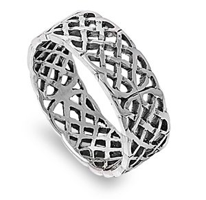 8mm .925 Sterling Silver IRISH CELTIC FILIGREE TRINITY KNOTWORK BAND Ring 9-14 (12) (Silver Inspired Mesh Tiffany Sterling)