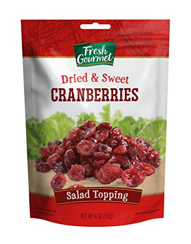 Fresh Gourmet Cranberries, Dried & Sweet, 4 Ounce (Pack of 9)