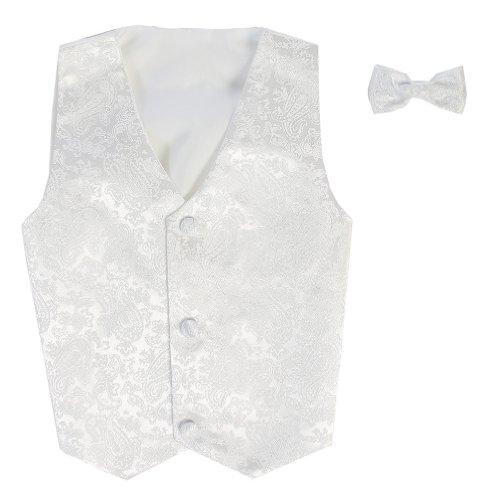- Vest and Clip On Baby Boy Bowtie set - WHITE PAISLEY - 2T/3T