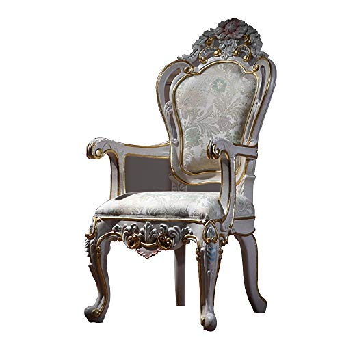 JU FU Chair Leisure Chair-Retro Romantic with Armrests Solid Wood Dining Chair Conference Chair Lounge Chair (Size: 63X56X113cm) @@