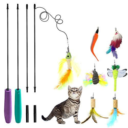 - SunnySunnie Cat Toys Interactive, Feather, Teaser Wand Set,Bird Butterfly Dragonfly Worm Mouse Catcher for Kitten Catnip, 9 Refills