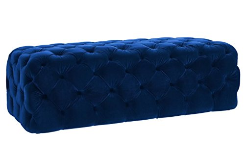Velvet Button Stool (TOV Furniture The Kaylee Collection Modern Style Living Room Jumbo Velvet Upholstered Button Tufted Ottoman, Navy)