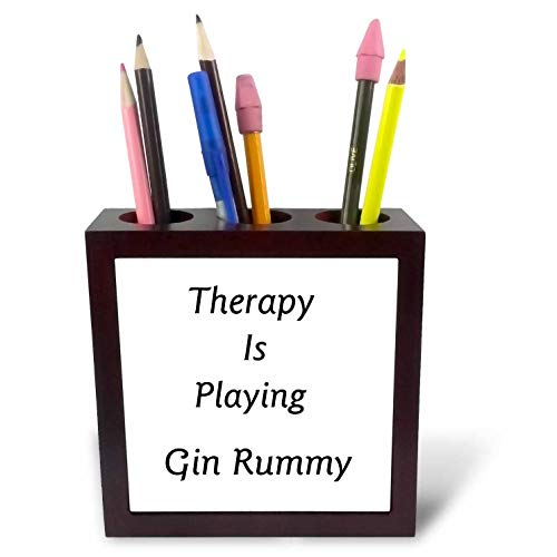 3dRose Lens Art by Florene - Therapy is - Image of Therapy is Playing Gin Rummy in Bold Typography - 5 inch Tile Pen Holder ()