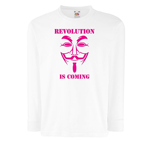 lepni.me Kids T-Shirt The Revolution is Coming - The Anonymous Hackers mask, V for Vendetta (9-11 Years White Magenta) ()