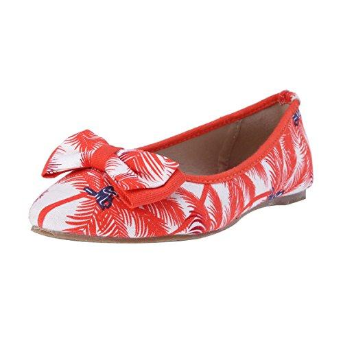 Damara Suave Mujeres Zapatos Estampados De Tela Bailarinas Con Punta Naranja