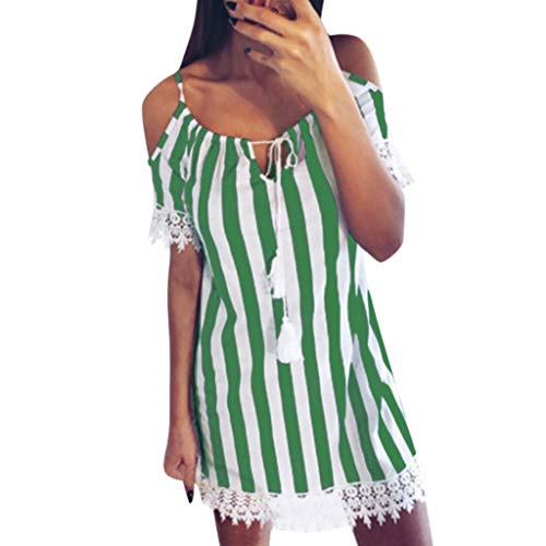 ONLY TOP Women's Summer Cold Shoulder Dresses Ruffled Sleeve Loose Swing T-Shirt Dress Green ()