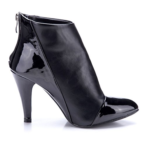 Schuhtempel24 Damen Schuhe Klassische Stiefeletten Stiefel Boots Trichterabsatz 10 cm High Heels Schwarz