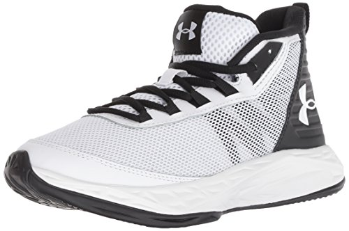 Under Armour Boys' Grade School Jet 2018 Basketball Shoe, White (101)/Black, 4 M US Little Kid