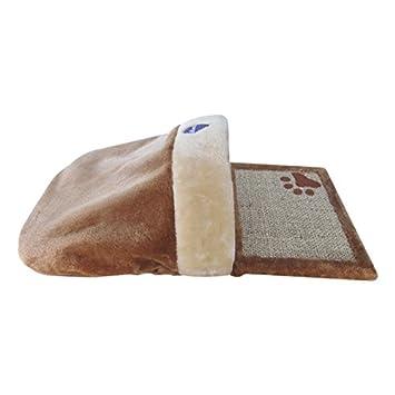 Rascador para gatos Nobleza, alfombra con refugio de color marrón y beige, largo 62 cm: Amazon.es: Hogar