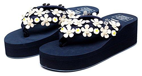 Sfnld Dames Sweet Flower Rhinestone Zomer String Flip Flop Platform Strand Sandalen Slippers Blauw