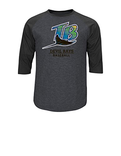 MLB Tampa Bay Rays Men's On The Attack Tops, Charcoal Heather-Black, - Small Ray